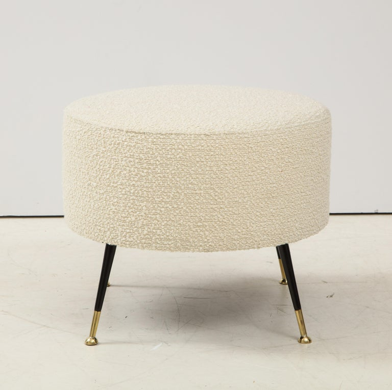 Steel Single Round Stool or Pouf in Ivory Boucle Brass Legs, Italy, 2021 For Sale