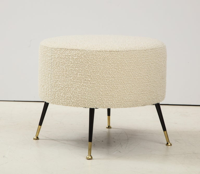 Single Round Stool or Pouf in Ivory Boucle Brass Legs, Italy, 2021 For Sale 1
