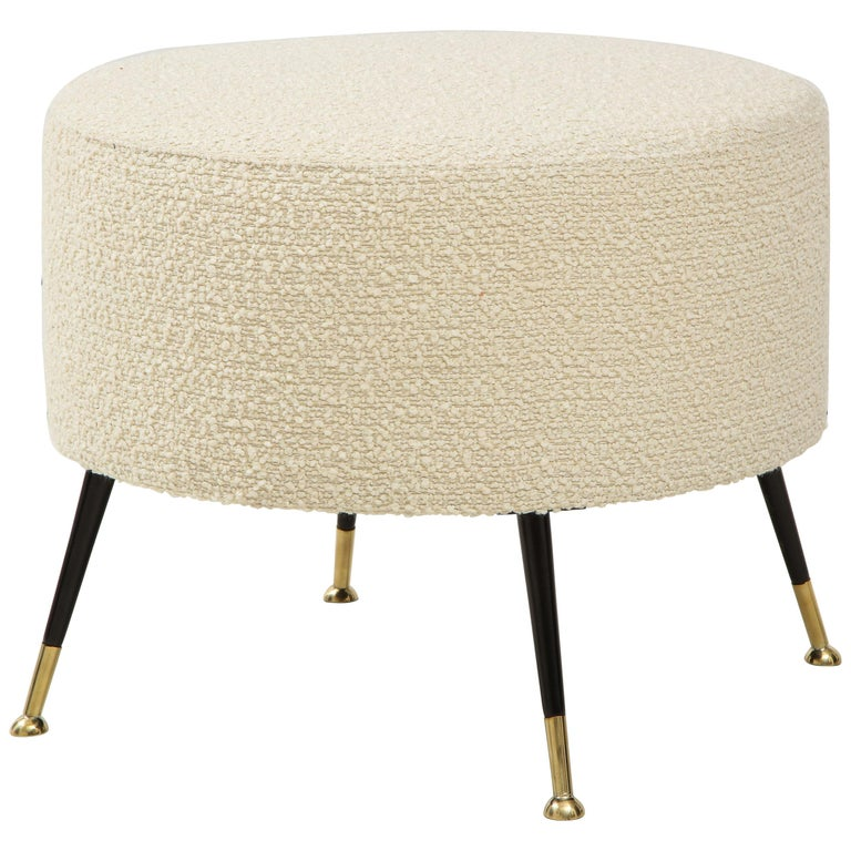 Single Round Stool or Pouf in Ivory Boucle Brass Legs, Italy, 2021 For Sale