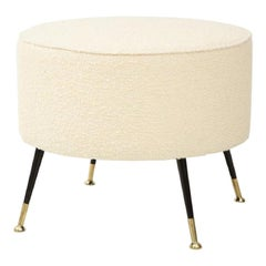Single Round Stool or Pouf in Ivory Boucle Brass Legs, Italy, 2021