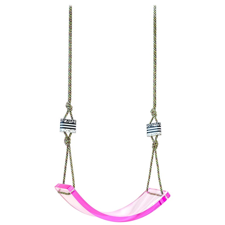 Single Scoop Indoor + Outdoor Swing in Bubble Gum For Sale