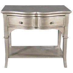 Single Silver Leaf French Louis XV Style Nightstand Night Table
