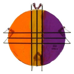 Single Size L Medium Triple Play Coffee Table in Orange, Amber and Purple