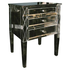 Neoclassical Modern 3-Drawer Diamond Front Beveled Smoked Mirror Nightstand