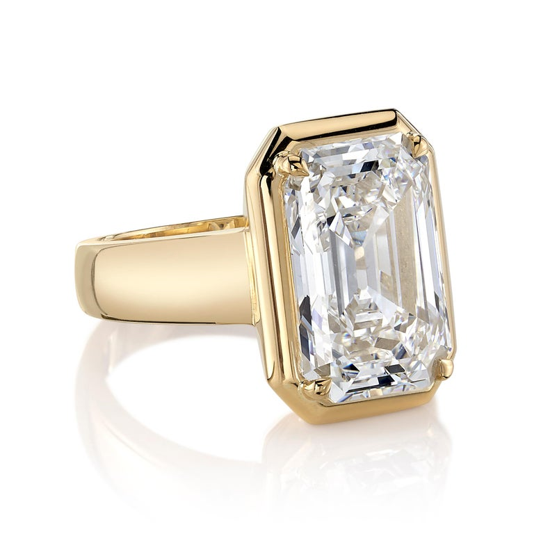 By Single Stone, the Cori ring features a GIA certified 6.02 carat emerald cut diamond with H coloring and VVS1 clarity. This vintage diamond is set in 18K yellow gold. The ring is a size 6.