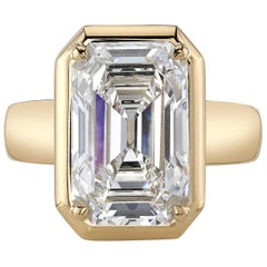 Single Stone 18 Karat Yellow Gold Emerald Cut Diamond Cori Ring
