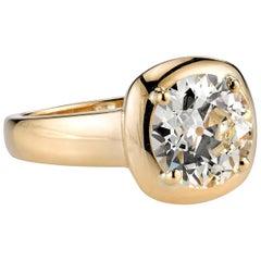 Single Stone 18 Karat Yellow Gold Old European Cut Diamond Cori Ring