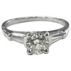 Single Stone Diamond Engagement Ring 1.01 Carat Certified Diamond Platinum