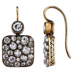 Single Stone Diamond Gold Cobblestone Drop Earrings