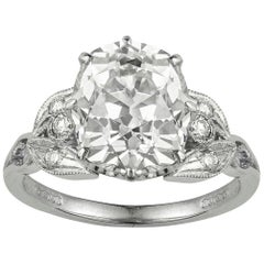 Certified 3.55 Carat Old Cushion-Cut Diamond Ring