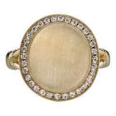 Handcrafted Paxton Diamond Frame Signet Ring in 18K Yellow Gold by Single Stone