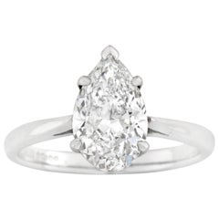 Certified 2.00 Carat Pear-Shaped Solitaire Diamond Ring