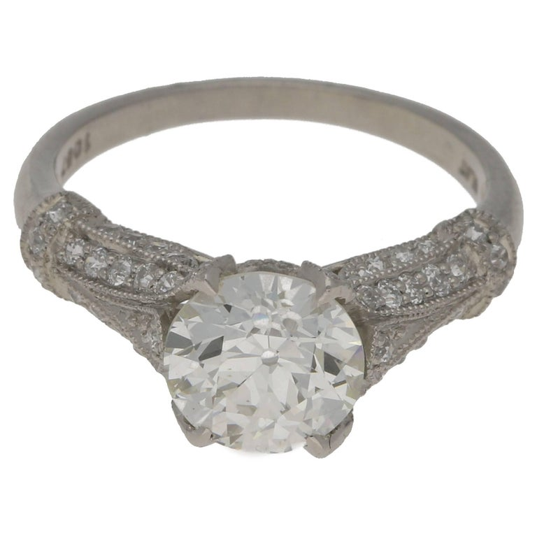 e6fb28dbc Single Stone Platinum Diamond Engagement Ring at 1stdibs