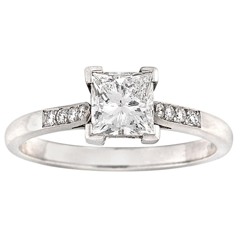 Single Stone Princess-Cut Solitaire Diamond Ring