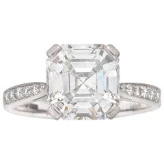 GIA Certified 3.07 Carat Square Emerald Cut Diamond Ring