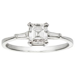 Certified 0.71 Asscher-Cut Solitaire Diamond Ring