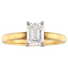Single Stone Solitaire Emerald-Cut Diamond Ring
