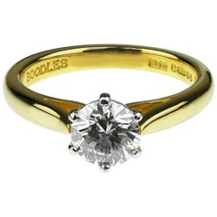 Boodles Single Stone Round Diamond Engagement Ring, British Hallmarked 18K Gold