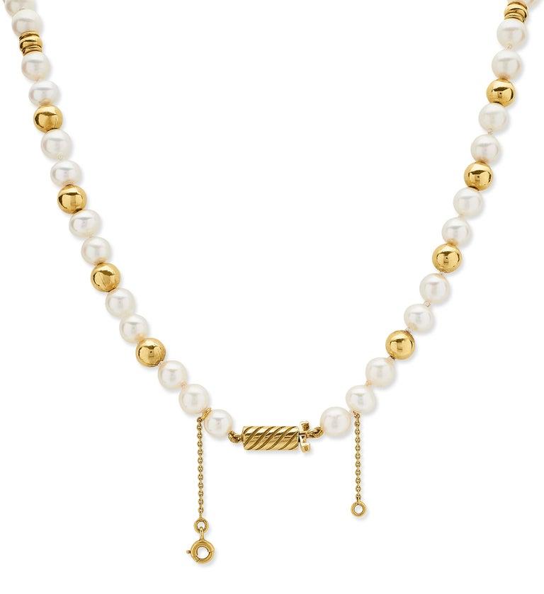 3e34fdb5edc0e Single Strand Sea Water Cultured Pearl Necklace with Diamond & 18K Gold  Beads
