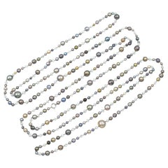 Single-Strand Natural Pearl and Diamond Necklace