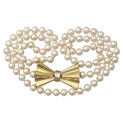 Single Strand Pearl and 18 Karat Yellow Gold Necklace, Art Deco Style, Vintage