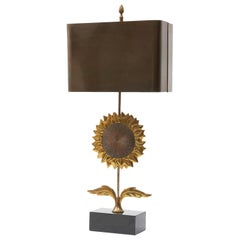 Single Sunflower Lamp by Maison Charles with Original Metal Shade, circa 1950