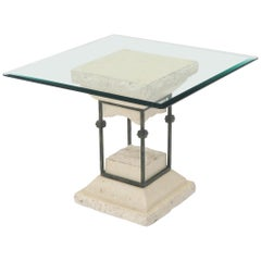 Single Suspended Pedestal Base Square Glass Top Side Table
