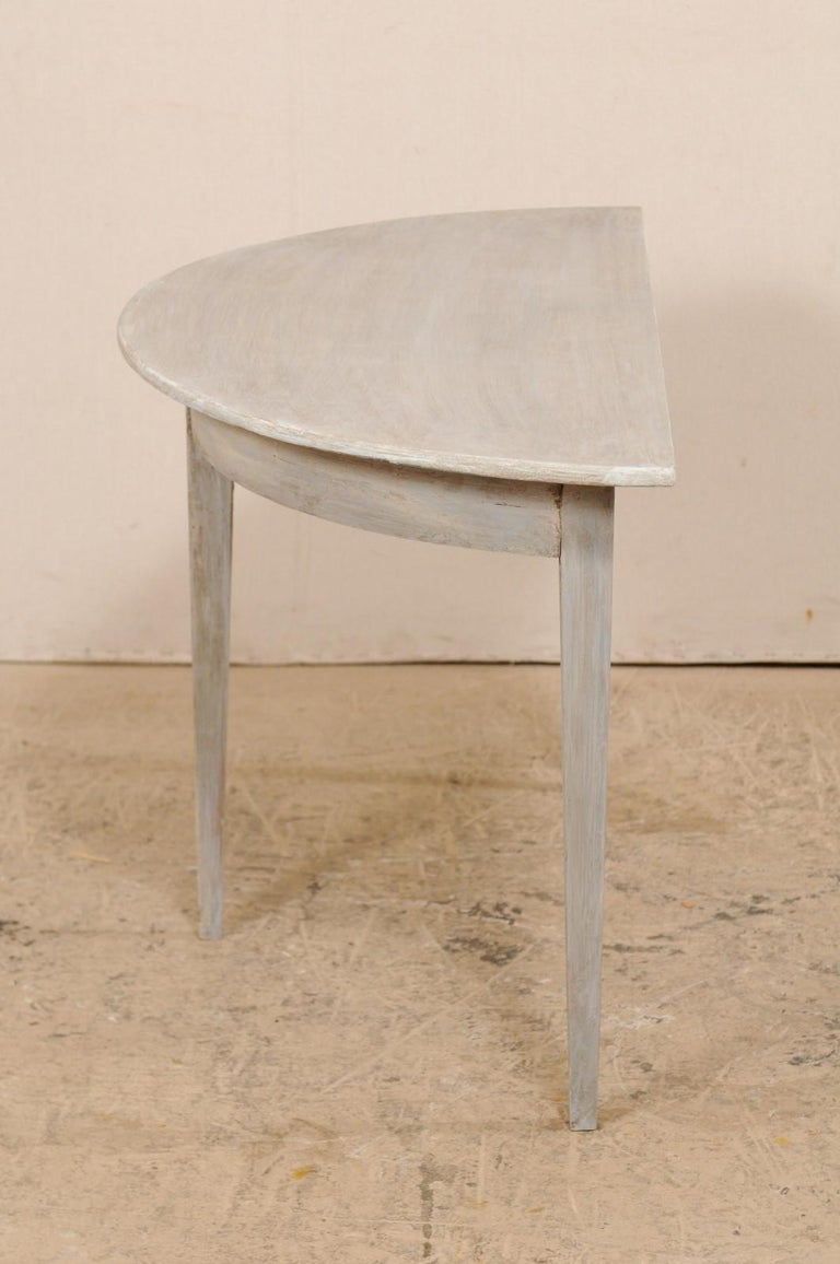 Single Swedish Painted Wood Demilune Table, circa 1880 For Sale 5