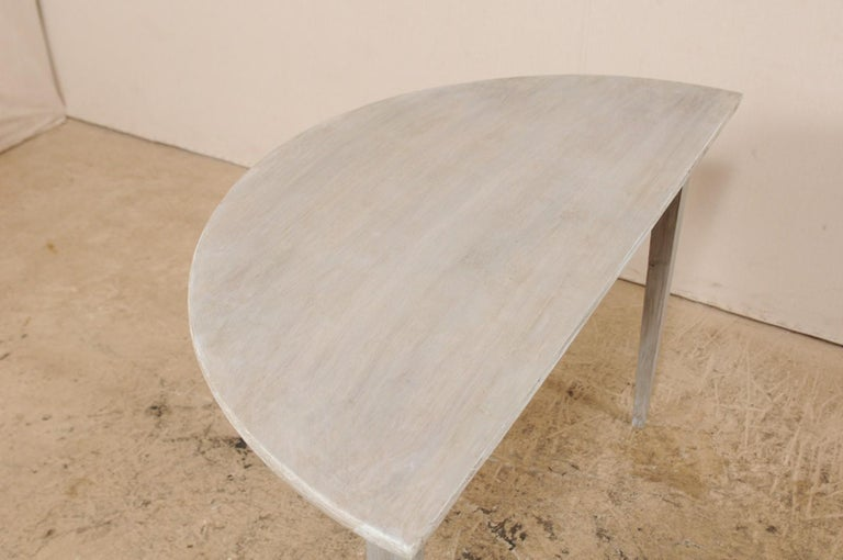 Single Swedish Painted Wood Demilune Table, circa 1880 For Sale 6