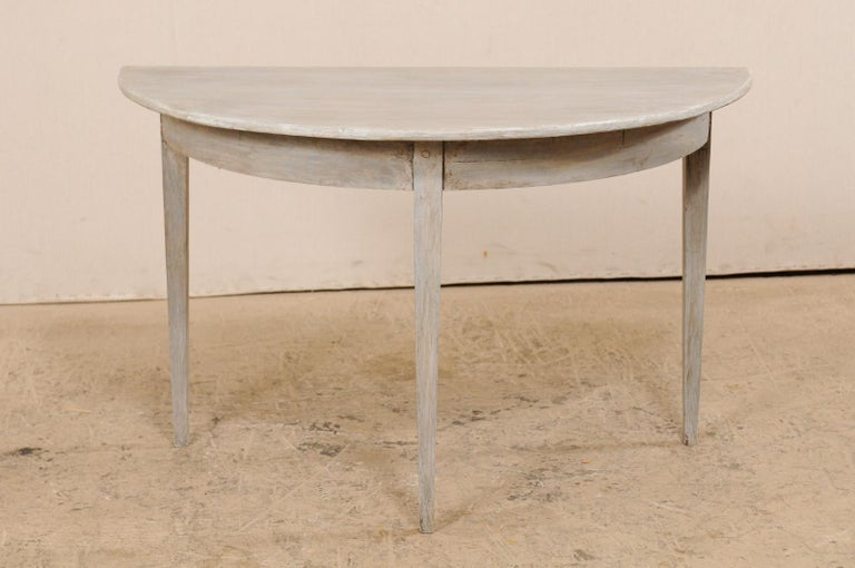 Gustavian Single Swedish Painted Wood Demilune Table, circa 1880 For Sale