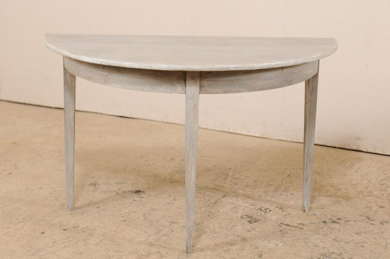 Single Swedish Painted Wood Demilune Table, circa 1880 In Good Condition For Sale In Atlanta, GA