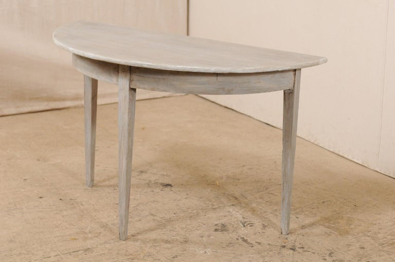 19th Century Single Swedish Painted Wood Demilune Table, circa 1880 For Sale