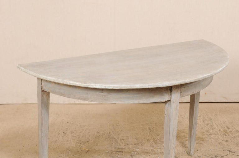 Single Swedish Painted Wood Demilune Table, circa 1880 For Sale 2