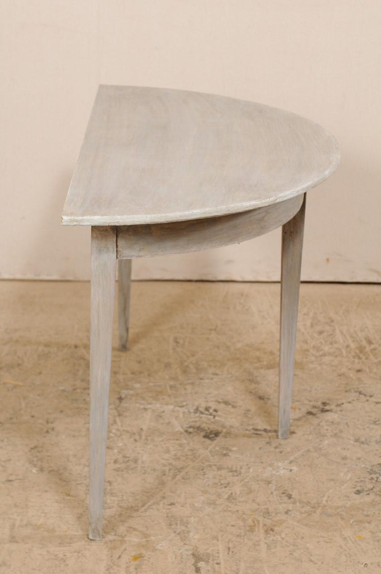 Single Swedish Painted Wood Demilune Table, circa 1880 For Sale 3