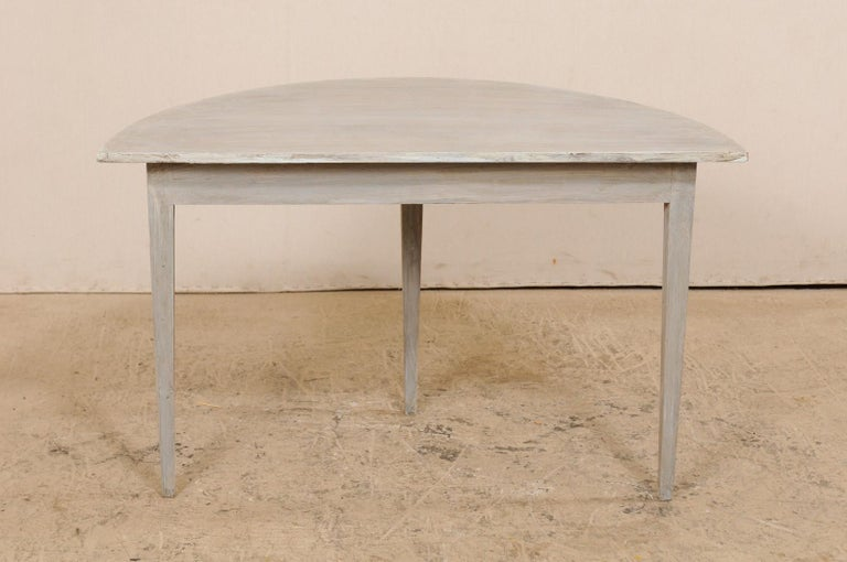 Single Swedish Painted Wood Demilune Table, circa 1880 For Sale 4