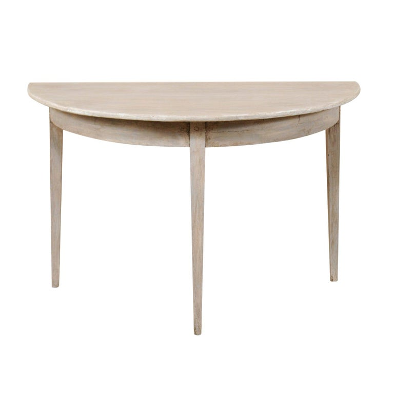 Single Swedish Painted Wood Demilune Table, circa 1880 For Sale