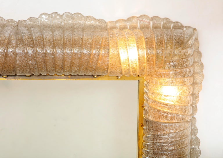 Contemporary Single Textured Light Smoke Taupe Murano Glass and Brass Mirror, Lighted, Italy For Sale