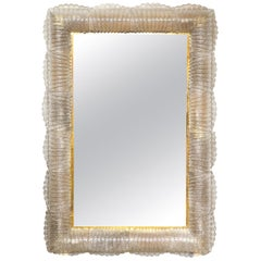 Single Textured Light Smoke Taupe Murano Glass and Brass Mirror, Lighted, Italy