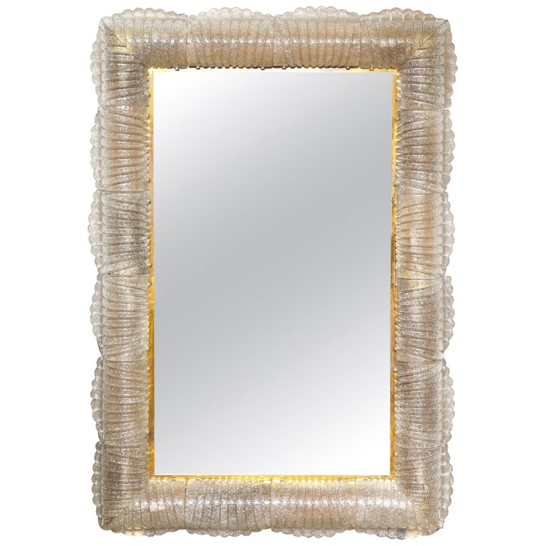 Single Textured Light Smoke Taupe Murano Glass and Brass Mirror, Lighted, Italy For Sale