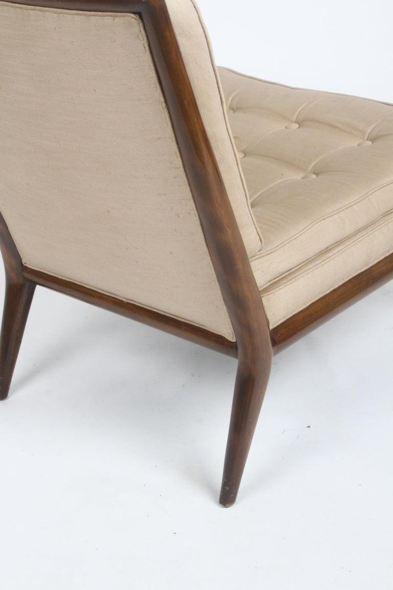 Single T.H. Robsjohn Gibbings for Widdicomb Slipper Chair, Elegant Walnut Frame For Sale 3