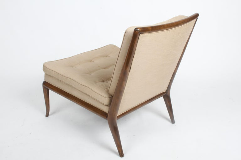 Single T.H. Robsjohn Gibbings for Widdicomb Slipper Chair, Elegant Walnut Frame For Sale 5