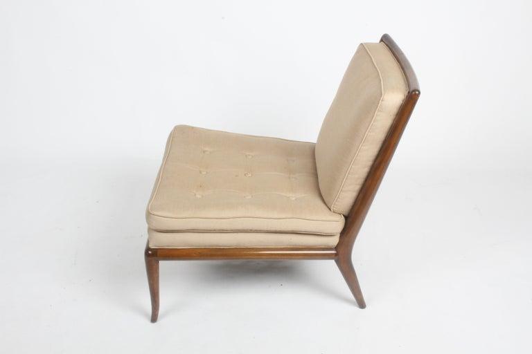 Single T.H. Robsjohn Gibbings for Widdicomb Slipper Chair, Elegant Walnut Frame For Sale 6