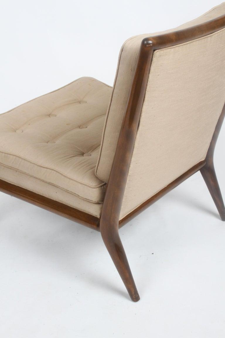 Single T.H. Robsjohn Gibbings for Widdicomb Slipper Chair, Elegant Walnut Frame For Sale 7
