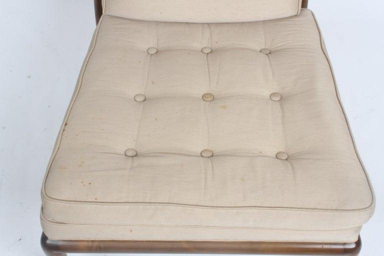 Single T.H. Robsjohn Gibbings for Widdicomb Slipper Chair, Elegant Walnut Frame For Sale 8