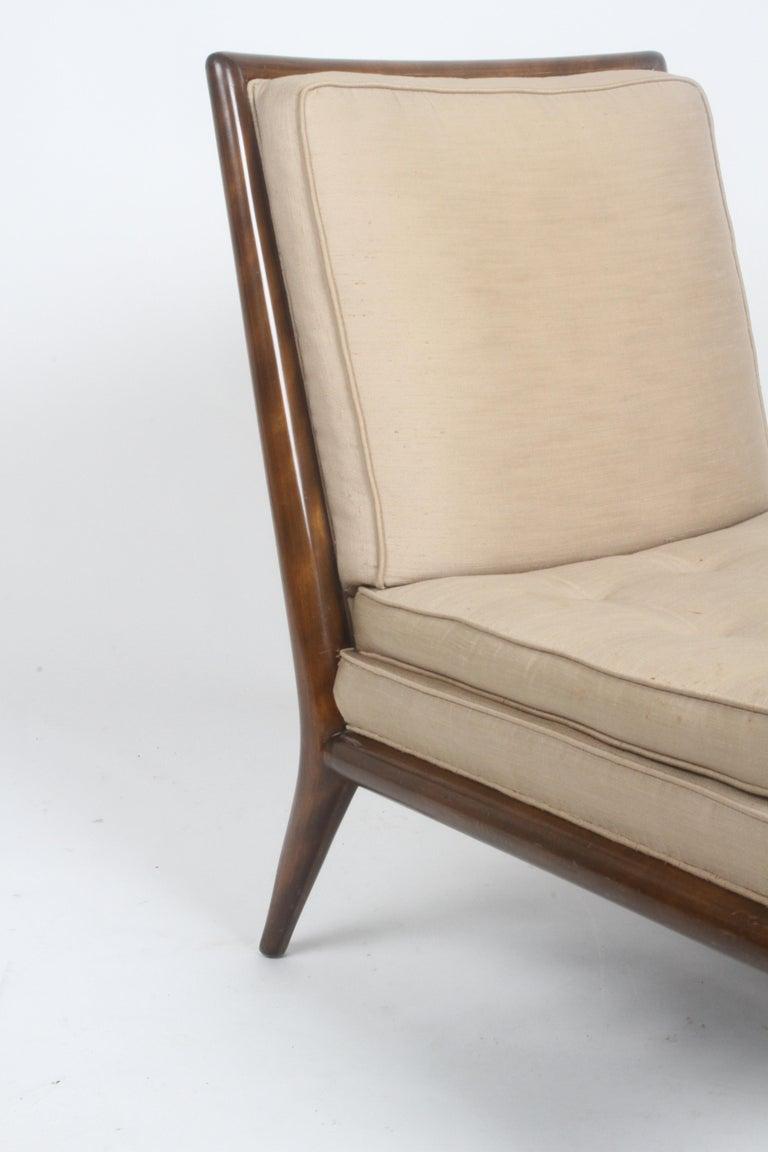 American Single T.H. Robsjohn Gibbings for Widdicomb Slipper Chair, Elegant Walnut Frame For Sale