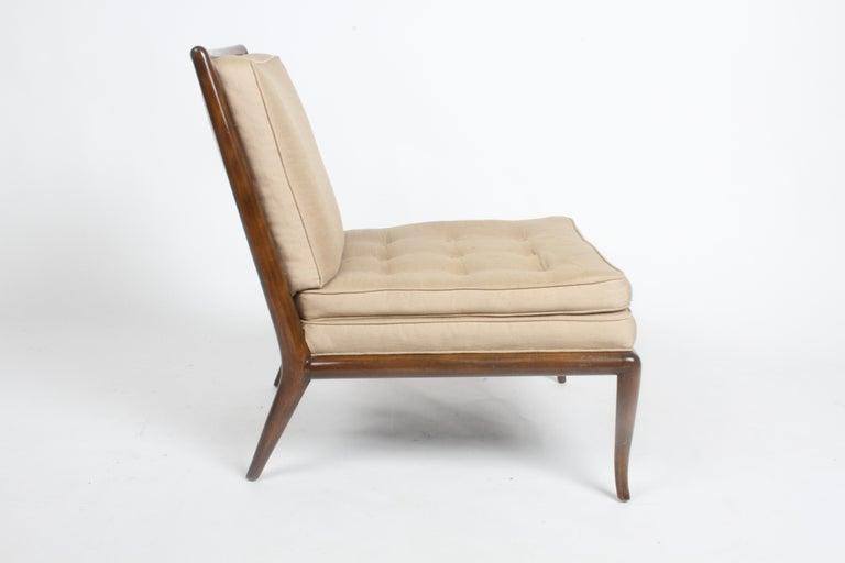 Single T.H. Robsjohn Gibbings for Widdicomb Slipper Chair, Elegant Walnut Frame In Good Condition For Sale In St. Louis, MO