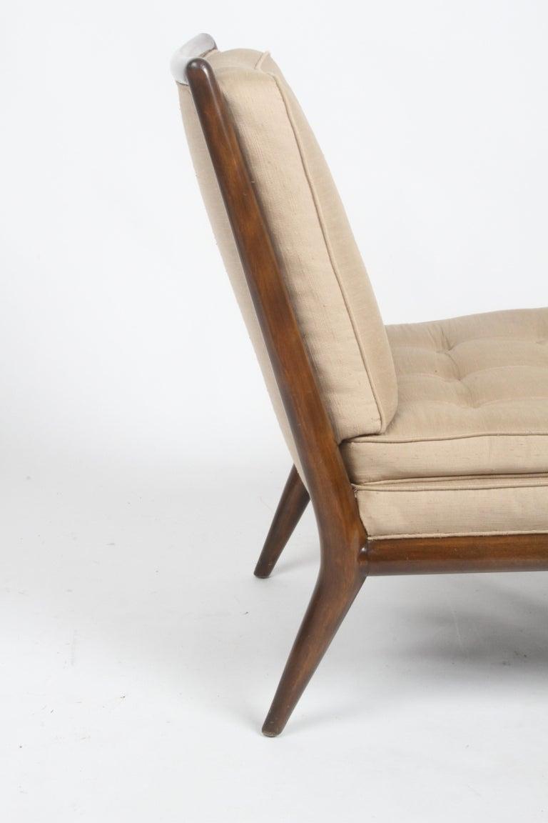 Mid-20th Century Single T.H. Robsjohn Gibbings for Widdicomb Slipper Chair, Elegant Walnut Frame For Sale