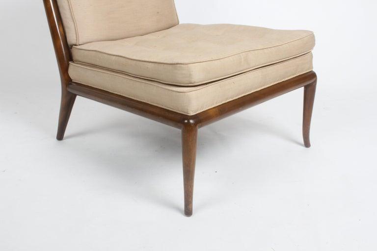 Upholstery Single T.H. Robsjohn Gibbings for Widdicomb Slipper Chair, Elegant Walnut Frame For Sale
