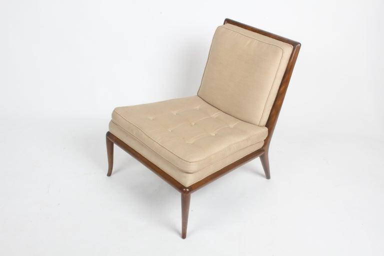 Single T.H. Robsjohn Gibbings for Widdicomb Slipper Chair, Elegant Walnut Frame For Sale 1