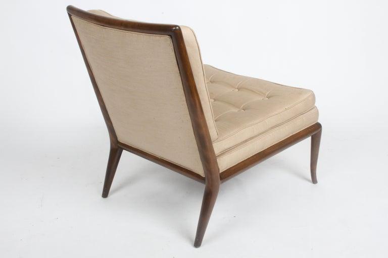 Single T.H. Robsjohn Gibbings for Widdicomb Slipper Chair, Elegant Walnut Frame For Sale 2